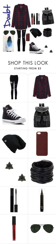 """Doubt; by Twenty Øne Piløts"" by raindaze ❤ liked on Polyvore featuring Miss Selfridge, Rails, Converse, Scotch & Soda, Saachi, Gucci, Smashbox and Ray-Ban"