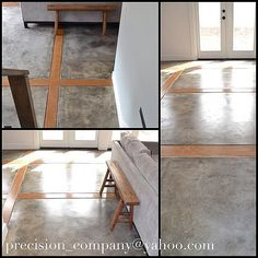 concrete floor with wood inlay Concrete Wood Floor, Polished Concrete Flooring, Concrete Building, Wood Flooring, Floor Design, House Design, Floor Finishes, House Floor Plans, Great Rooms