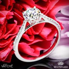 """Truly alluring, the Vatche """"Melody"""" Diamond Engagement Ring is sure to captivate your leading lady. Part of our Serenity Collection, this enticing beauty features an open cathedral design and Round Brilliant Diamond Melee along the gentle shank."""