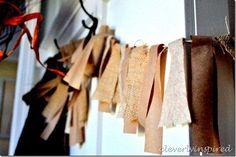 DIY paper and burlap garland DIY Fast, inexpensive and cute!  Fall Craft!