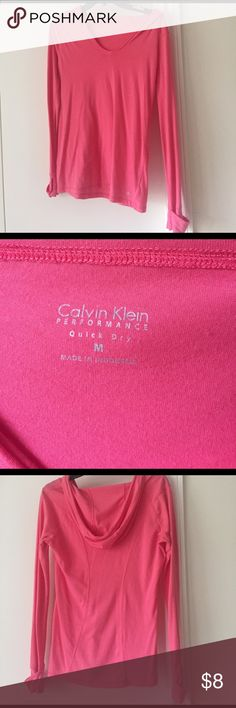 Calvin Klein performance tee Gently worn pink long-sleeve tee by Calvin Klein. V-neck front and hood on the back. Calvin Klein Tops Tees - Long Sleeve