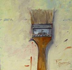 Chip Brush paintbrush, still life, oil painting by Robin Weiss, painting by artist Robin Weiss