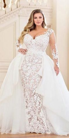 Plus-Size Wedding Dresses: A Jaw-Dropping Guide ★ See more: www. Plus-Size Wedding Dresses: A Jaw-Dropping Guide ★ See more: www. Plus Size Wedding Gowns, Dream Wedding Dresses, Bridal Dresses, Wedding Dresses For Curvy Women, Plus Size Gowns, Modest Wedding, Bridesmaid Dresses, Curvy Bride, Long Sleeve Wedding