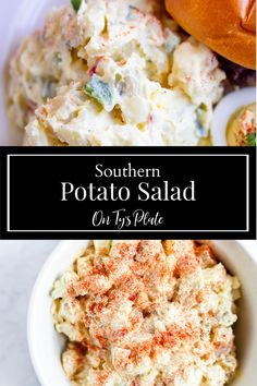 Southern Potato Salad is creamy, starchy, and a little crunchy. It is the perfect summer cookout side dish. | On Ty's Plate Best Salad Recipes, Vegan Recipes Easy, Vegetarian Recipes, Veggie Recipes, Delicious Recipes, Free Recipes, Tasty, Potato Dishes, Potato Recipes
