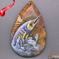 Jewelry necklace Hand Painted Sailfish Natural Gemstone pendant ZL805579 #ZL #Pendant