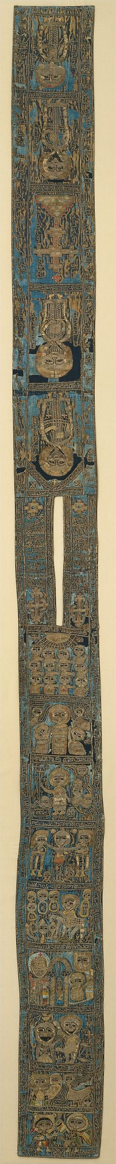 16th c. Syrian silk backed with linen batrashil (Syriac church liturgical vestment) with scenes from the Gospels and Arabic and Syriac inscriptions, made in the style of 13th and 14th c. batrashil -  Met Museum 14.137