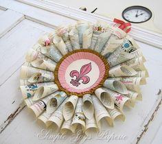 Honeysuckle Pink Fleur de Lis vintage French book wreath $50.00