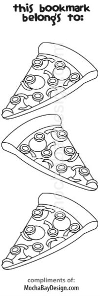 print coloring page pizza slices