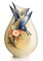 Franz PorcelainFluttering Beauty flower and butterfly collection sculptured porcelain small vase