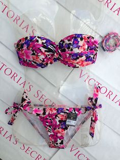New Sexy Victoria's Secret Swimsuit Rio Twisted Shimmer Bandeau Bikini Set