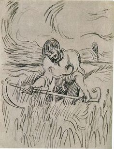 Man with Scythe in Wheat Field, 1890,Vincent van Gogh  Medium: ink on paper