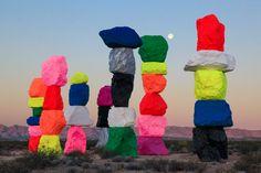 Neon Rock Balancing Desert Art Installation in Las Vegas, by Ugo Rondinone ...