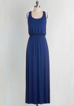 Breezy Night Stroll Dress in Blue. The full moon lights your path as you stroll in this rich blue maxi! #blue #modcloth