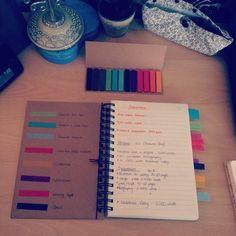 Verschiedene Beiträge in einem Notizbuch anhand von unterschiedlichen Farben sortieren