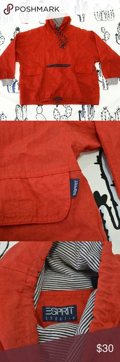 Esprit anorak pullover jacket Vintage Esprit red anorak pullover hoodie jacket with striped lining on the inside and adjustable cord at the bottom and on the hood Has a tiny hole on one of the sleeves but is not even noticeable  women's medium but fits oversized Esprit Jackets & Coats