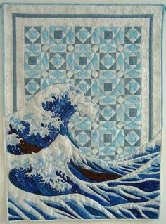 "'Storm at Sea' by textiledreamer;  36.5"" x 49"";  The big wave in the lower part of the quilt is inspired by Hokusai's ""The great wave off Kanagawa,"" from Wikipedia.  The traditional quilt pattern 'Storm at Sea'  serves as the background."
