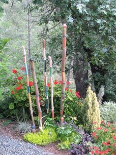 Calistoga residential garden with ceramic bamboo sculpture by Marcia Donahue