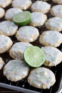 Key Lime Cookies are soft, chewy, with a hint of lime, smooth white chocolate chips, and a citrus glaze on top.