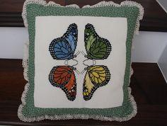 cross stitch butterfly pillow