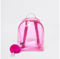Checkout this Girls pink glitter jelly backpack from River Island