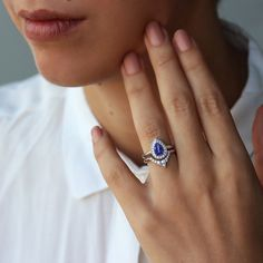 Pear Shaped Tanzanite Engagement Ring with by SillyShinyDiamonds