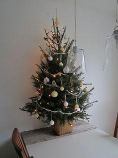 onze eigen Fries/Scandinavische kerstboom op een zelf gemaakte palet houten tafel nu is de kerstboom hond proef