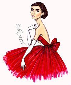 #Hayden Williams Fashion Illustrations  #Audrey 'Little Red Dress' by Hayden Williams