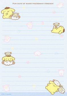 Pom Pom Purin memo pad as courtesy of Sanrio Printable Stickers, Printable Paper, Memo Template, Memo Notepad, Note Memo, Cute Notes, Hello Kitty Wallpaper, Cute Stationery, Little Twin Stars