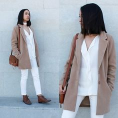 Esther Luque - Missguided Wool Coat, Mango Blouse, New Dress White Pants, Yesstyle Bag, Zara Boots - WHITE & BEIGE