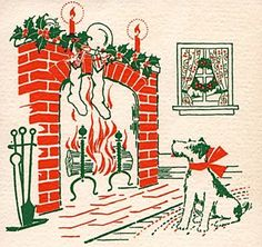 Fox Terrier watches the fire at Christmas. Vintage Christmas Images, Retro Christmas, Vintage Holiday, Holiday Images, Vintage Images, Christmas Past, Christmas Greetings, Winter Christmas, Christmas Fireplace