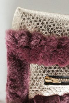 New Handmade Clutch purse With Puce Nutria Real by PrimeStarFurs