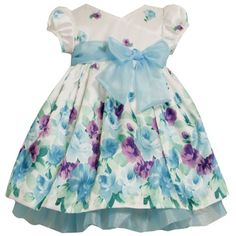 Bonnie Jean TODDLERS 2T-4T TURQUOISE-BLUE PURPLE FLORAL BORDER CROSSOVER SHANTUNG Special Occasion Flower Girl Party Dress