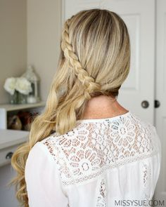 Fade to Fall Hair and Makeup Tutorial Sideswept Dutch Braid Tutorial Side Swept Hairstyles, Formal Hairstyles, Braided Hairstyles, Hair Upstyles, Trending Hairstyles, Braided Ponytail, Braids For Long Hair, Braid Styles, Fall Hair