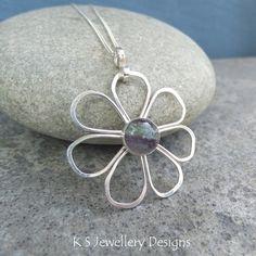 Fluorite Daisy - Sterling Silver Wire Flower Gemstone Metalwork Wirework Pendant…