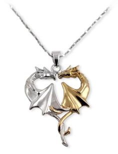 Amazon.com: Dragon Heart Gold and Sterling Silver Pendant Necklace: Jewelry