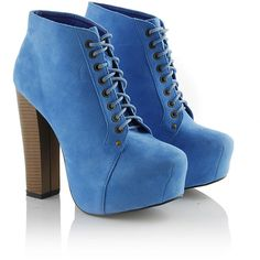 Blue Block Heel Lace Up Boots ($41) ❤ liked on Polyvore featuring shoes, boots, ankle booties, heels, sapatos, chaussures, block heel booties, faux-fur boots, platform booties and blue booties