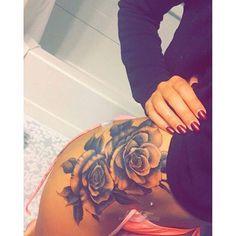 https://www.facebook.com/tattoos1/posts/10153639762440502:0 Saw on myttoos.com Black & White Rose Hip tattoo