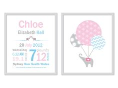 Birth announcement Baby Girl Name Print Baby by AppleTreeArtStudio, $30.00