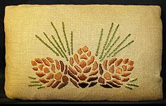 William Morris Fan Club: Dianne Ayres's beautiful textiles Pine Cone Art, Pine Cones, Craftsman Style Decor, Bungalow Decor, Embroidery Kits, Machine Embroidery, Pine Cone Decorations, Sewing Art, Arts And Crafts Movement