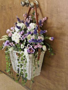 Silk Arrangement Hanging Wall Door Picnic Basket 89 00 Via Etsy Beautiful Flower Arrangements