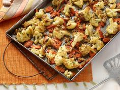 Meatless Monday: Quick Roasted Carrots and Cauliflower with Walnuts from Cooking Channel Roasted Vegetable Recipes, Roasted Vegetables, Vegetable Dishes, Veggie Recipes, Veggies, Veg Dishes, Root Vegetables, Veggie Food, Chicken Recipes
