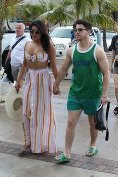 Priyanka Chopra and Nick Jonas Do Vacation Style in Miami Beach - Vogue Priyanka Chopra Hot, Trendy Swimwear, Nick Jonas, Danielle Jonas, High Cut Bikini, Vacation Style, One Piece Swimwear, Indian Actresses, Fashion News