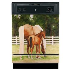 @Overstock.com - Appliance Art 'Horse and Colt' Dishwasher Cover - This equine dishwasher cover is perfect for adding a touch of country charm to your kitchen and for hiding those unsightly scratches and dents. This magnetic 'Horse and Colt' cover creates a serene ambiance the whole family will enjoy.  http://www.overstock.com/Home-Garden/Appliance-Art-Horse-and-Colt-Dishwasher-Cover/6193613/product.html?CID=214117 $42.99