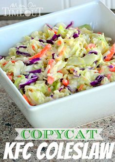 Delicious Copycat KFC Coleslaw recipe – this coleslaw is the perfect side dish to every barbecue and it's great to bring to pot lucks and other get-togethers. | MomOnTimeout.com