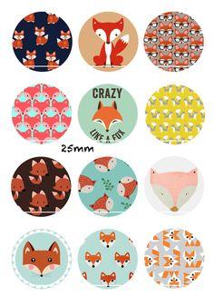 Crazy like a fox 12 Images/Dessins/collages/Scrapbooking digitales pour cabochon 30/25/20/18/16/15/14/12/10/8 mm Rond/Carré/Ovale