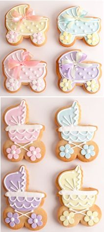 Sweet baby carriage cookies (Flower Pot Cookies).