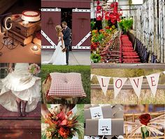 red gingham wedding ideas | GSS Wedding Inspiration Board :: Red & Chocolate Brown :: Rustic Red ...