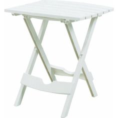 Adams Manufacturing 8500483700 Plastic QuikFold Side Table bundle with 2pcs QuikFold Chair  White -- Click the VISIT button to find out more