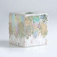 Shiraleah Fes Crushed Mosaic Tissue Box Holder ($28) ❤ liked on Polyvore featuring home, bed & bath, bath, bath accessories, tissue box holder, tissue box, glass tissue box holder, glass tissue box and shiraleah
