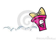 Happiness jumping running gift cartoon illustration isolated image character